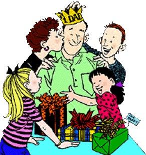 Dibujo de un padre siendo felicitado por el Día del Padre