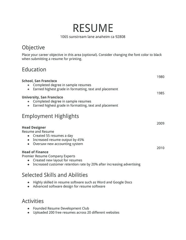 professional resume samples 2019