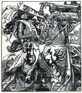 Howard Pyle - Sir Kay breaketh his sword at ye Tournament