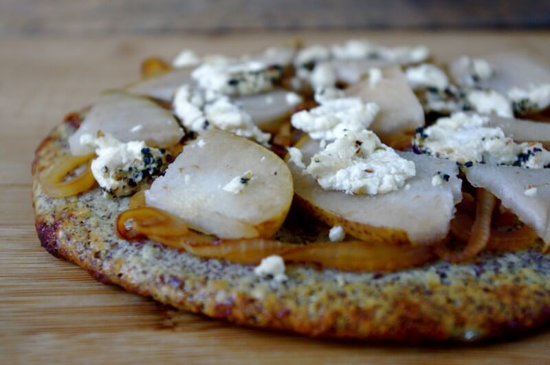 Caramelized Onion, Pear & Goat Cheese Pizza