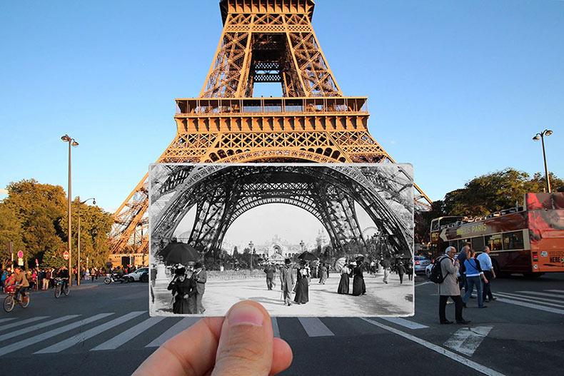 El presente de París se reúne con el pasado en estas fotos yuxtapuestas