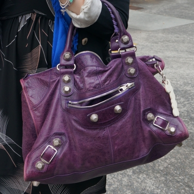 Balenciaga raisin purple 2009 giant silver G21 hardware work bag | awayfromblue