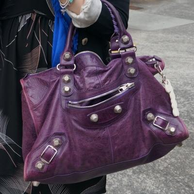 Balenciaga raisin purple 2009 giant silver G21 hardware work bag | awayfromblue