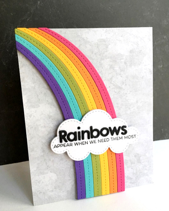 Rainbow of Happiness stamp set, End of the Rainbow and Color the Rainbow Die-namics  - Lisa Addesa #mftstamps