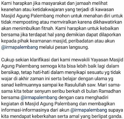 Klarifikasi  Video Shalat dengan Gerakan Aneh di Masjid Agung Palembang