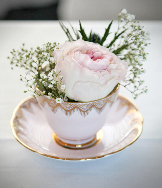 flowers in pink vintage teacup