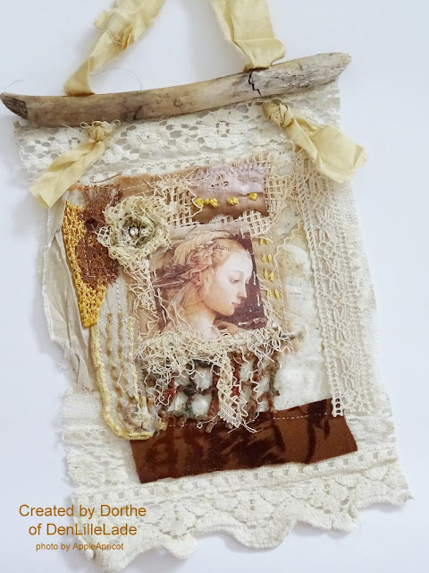 fabric lace collage by Dorthe of DenLilleLade