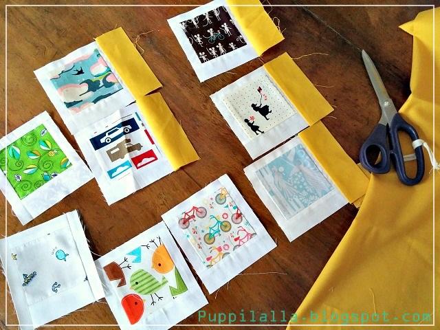 Fussy Cut, Patchwork, Polaroid Photo Pillowcase, Puppilalla, Cushion Cover,