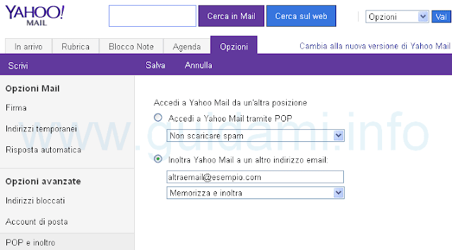 Yahoo Mail inoltrare email