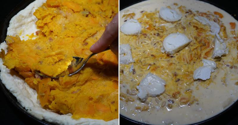 Masse auf Teig verteilen und Eiersahne drübergießen