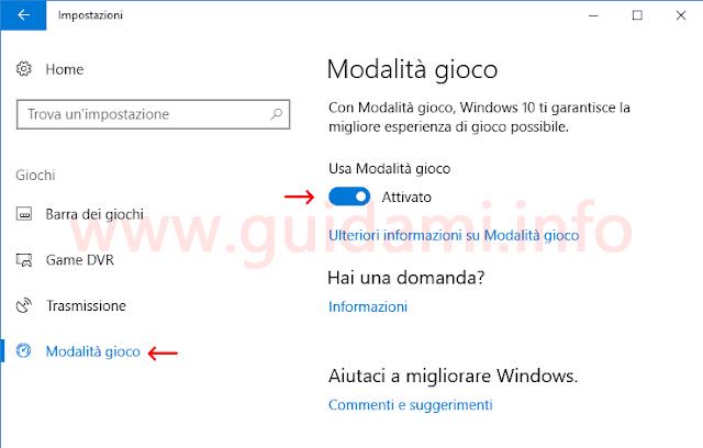 Attivare Modalità gioco Impostazioni Windows 10