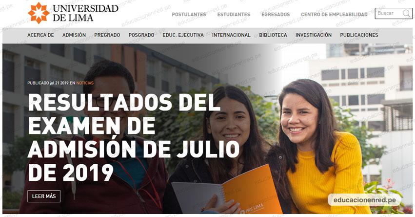 Resultados ULIMA 2019-2 (Domingo 21 Julio 2019) Lista de Ingresantes - Examen Admisión - Universidad de Lima - www.ulima.edu.pe