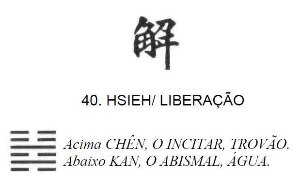 Imagem de 'Hsieh / Liberação' - hexagrama número 40, de 64 que fazem parte do I Ching, o Livro das Mutações