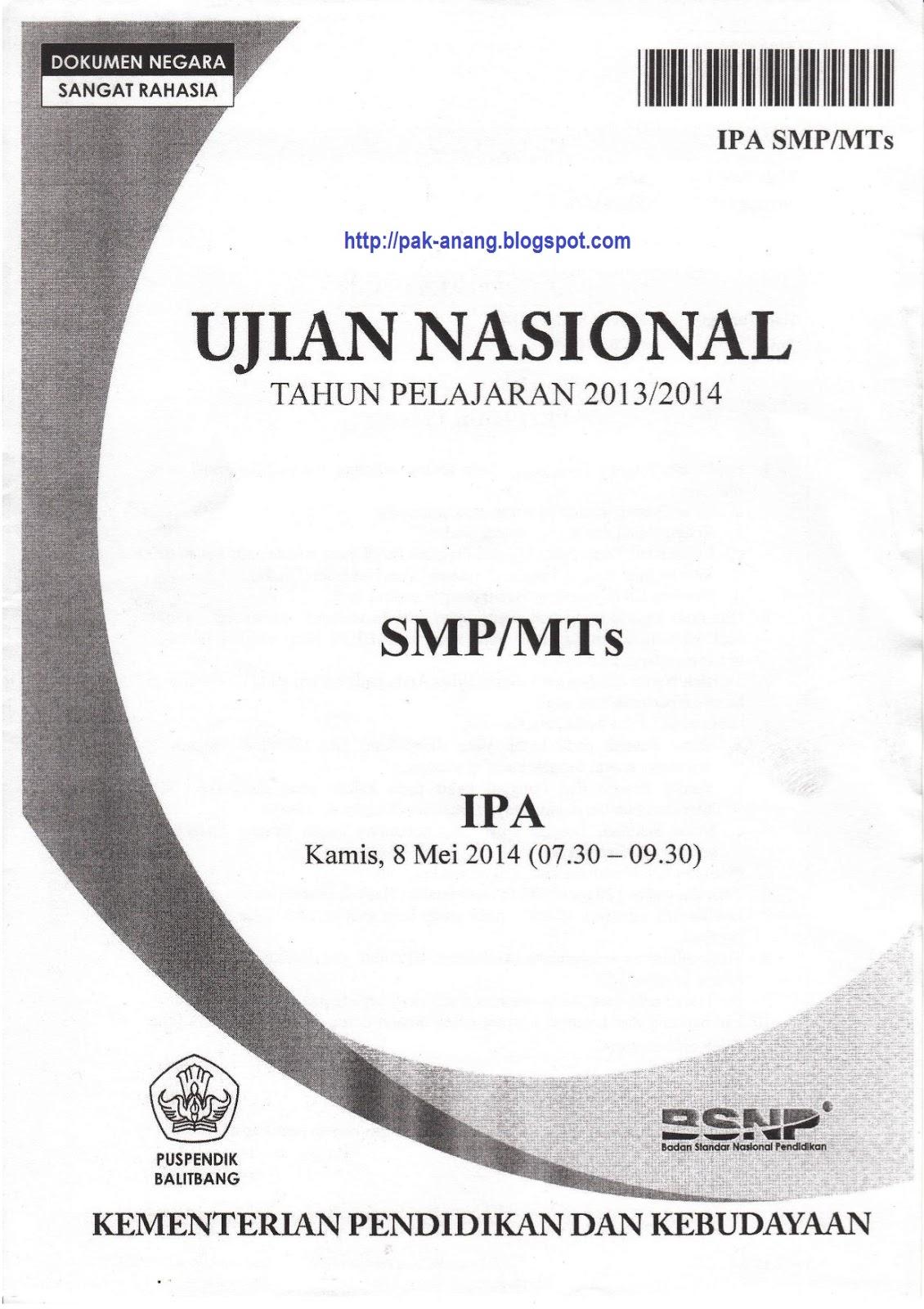Berbagi Dan Belajar Naskah Soal Un Ipa Smp 2014 Paket 1