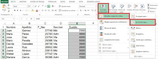 Resaltar reglas en Microsoft Excel