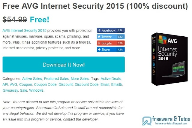 Offre promotionnelle : AVG Internet Security 2015 gratuit (licence d'un an) !
