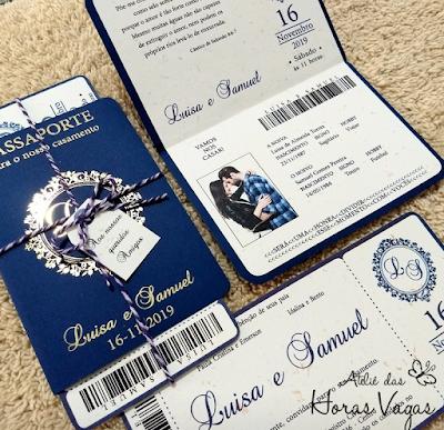 convite de casamento artesanal personalizado formato passaporte com cartão de embarque voucher passagem de avião weddding destination capa do passaporte estampa metalizada foil dourado hot stamping
