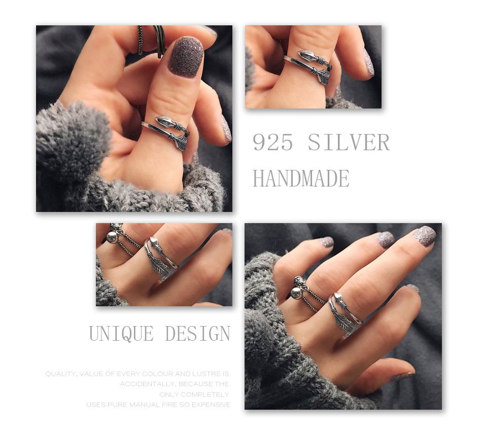 Vintage 100/% Solid 925 Sterling Silver Rings Cupid Arrow Design Thai Silver Ring