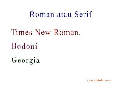 Roman atau Serif | ristofa.com