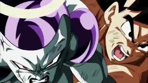 Goku throws Frieza at Jiren