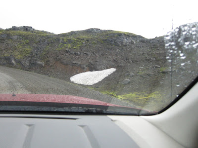 Snow over a mountainous pass, Iceland