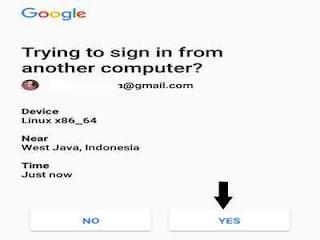 Konfirmasi masuk ke komputer atau device