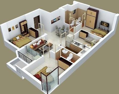 Denah Rumah Type 45 1 lantai Minimalis