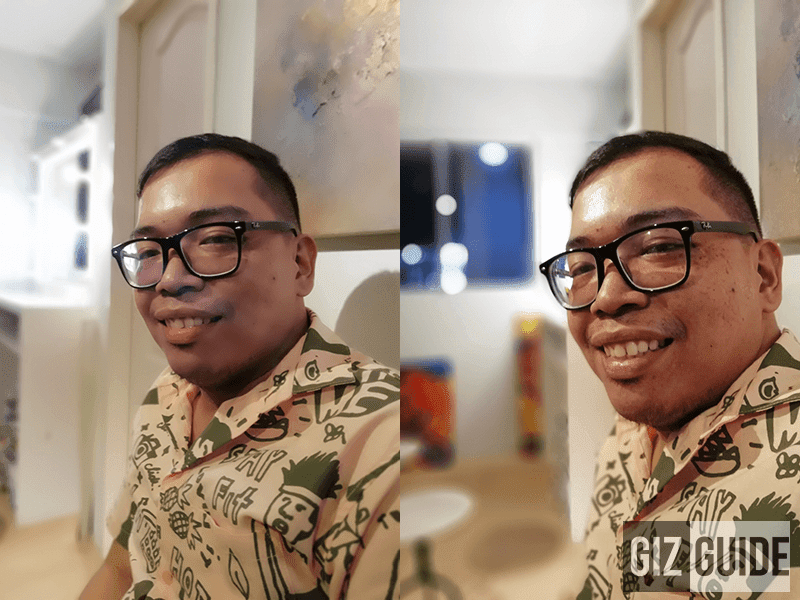 Portrait mode (left) vs f/0.95 aperture mode (right)