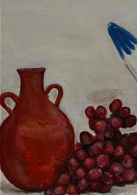 still-life, art, arte, painting, water-pots, ceramics, pintura, natura, morte, grapes, pitcher, pottery, vessel, leaves, fruit, water, acrylic, canvas, large, colours, painted, sarah, myers, artist, palm, palms, fronds, decor, yellow, blue, red, detail, close-up, clay, amy, myers, handmade, ceramica, earthenware, modern, contemporary