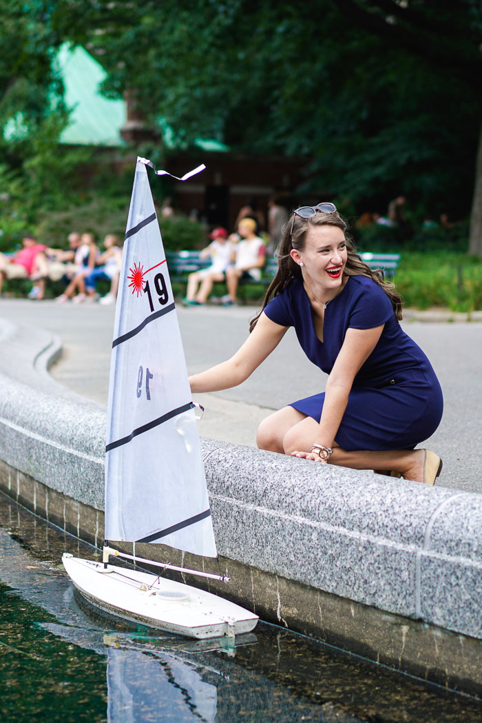 Krista Robertson, Covering the Bases, Travel Blog, NYC Blog, Preppy Blog, Style, Fashion Blog, Preppy Looks, Central Park NYC, Summer in NYC, NYC Summer activities, NYC Lifestyle, Sailboats in Central Park NYC, Lilly Pulitzer, Navy Dress, Preppy Outfit, Summer Fashion