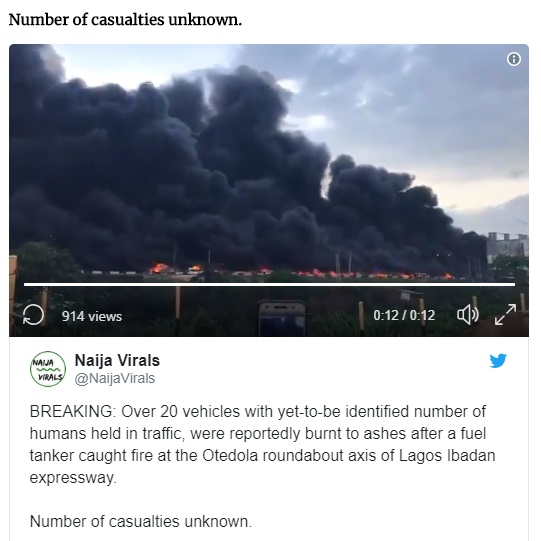 WATCH VIDEO..BREAKING: Humans Burnt To Ashes As Fuel Tanker Catches Fire At Otedola Roundabout, Lagos