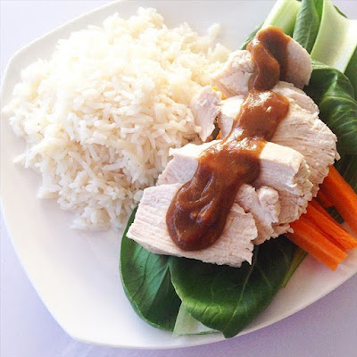 Poached Chicken with Tahini Soy Sauce and Vegetables