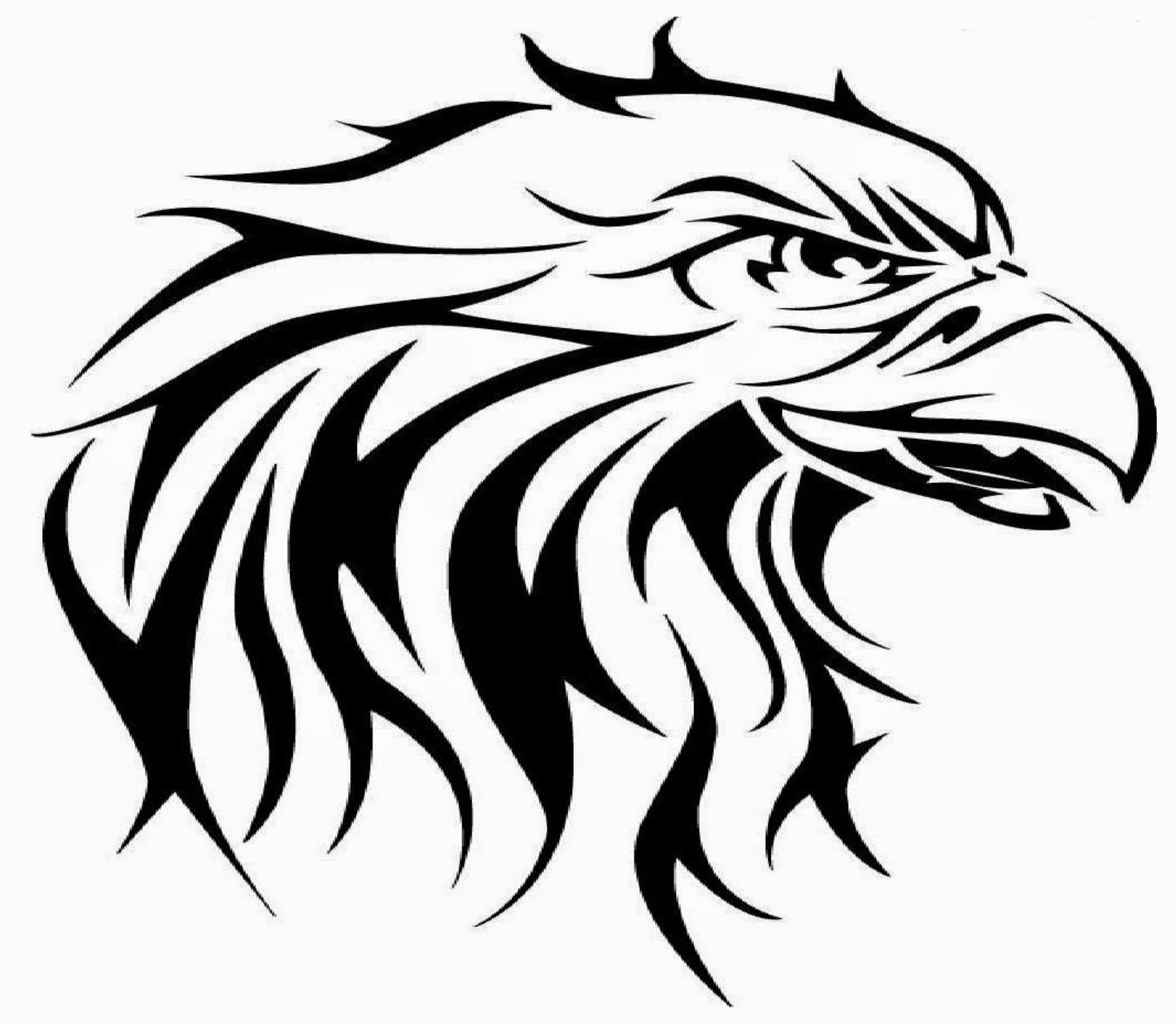 Eagle head tribal tattoo stencil