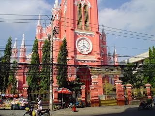 The Pink Church (Tan Dinh) of Ho Chi Minh City (Saigon). Vietnam