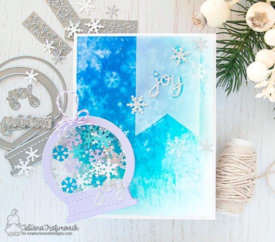 Snow Globe Tag and Winter card by Tatiana Trafimovich | Snow Globe Shaker Die Set and Snowfall Stencil by Newton's Nook Deigns #newtonsnook #handmade