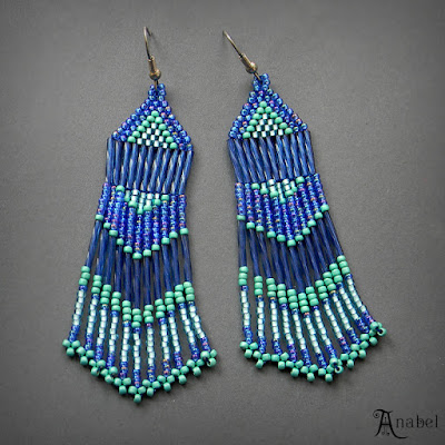 Seed bead earrings beadwork beading jewelry boho bohemian anabel27