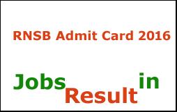 RNSB Admit Card 2016