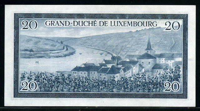 Luxembourg money 20 Francs banknotes bill