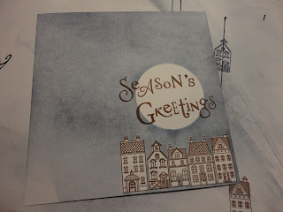 Houses with a moon above, Season's Greetings sentiment