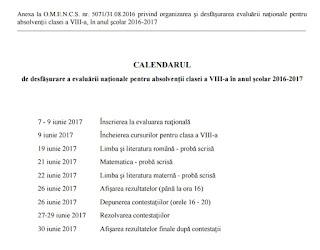 Calendar evaluare nationala 2017