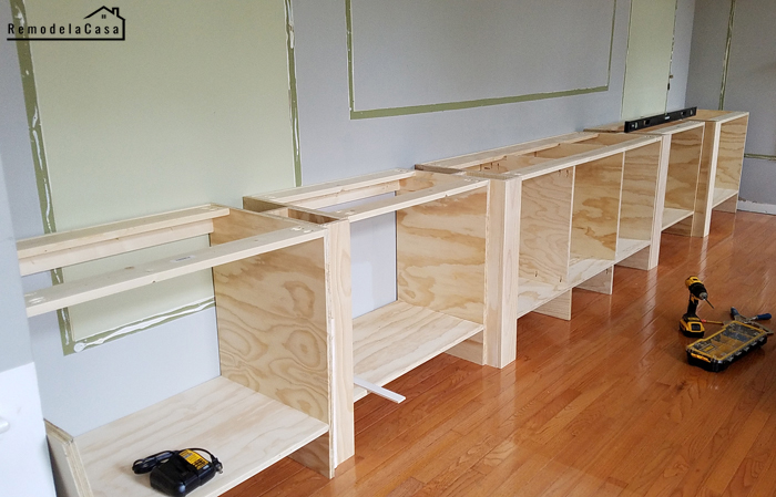 how to built an entertainment center starting with the base cabinets