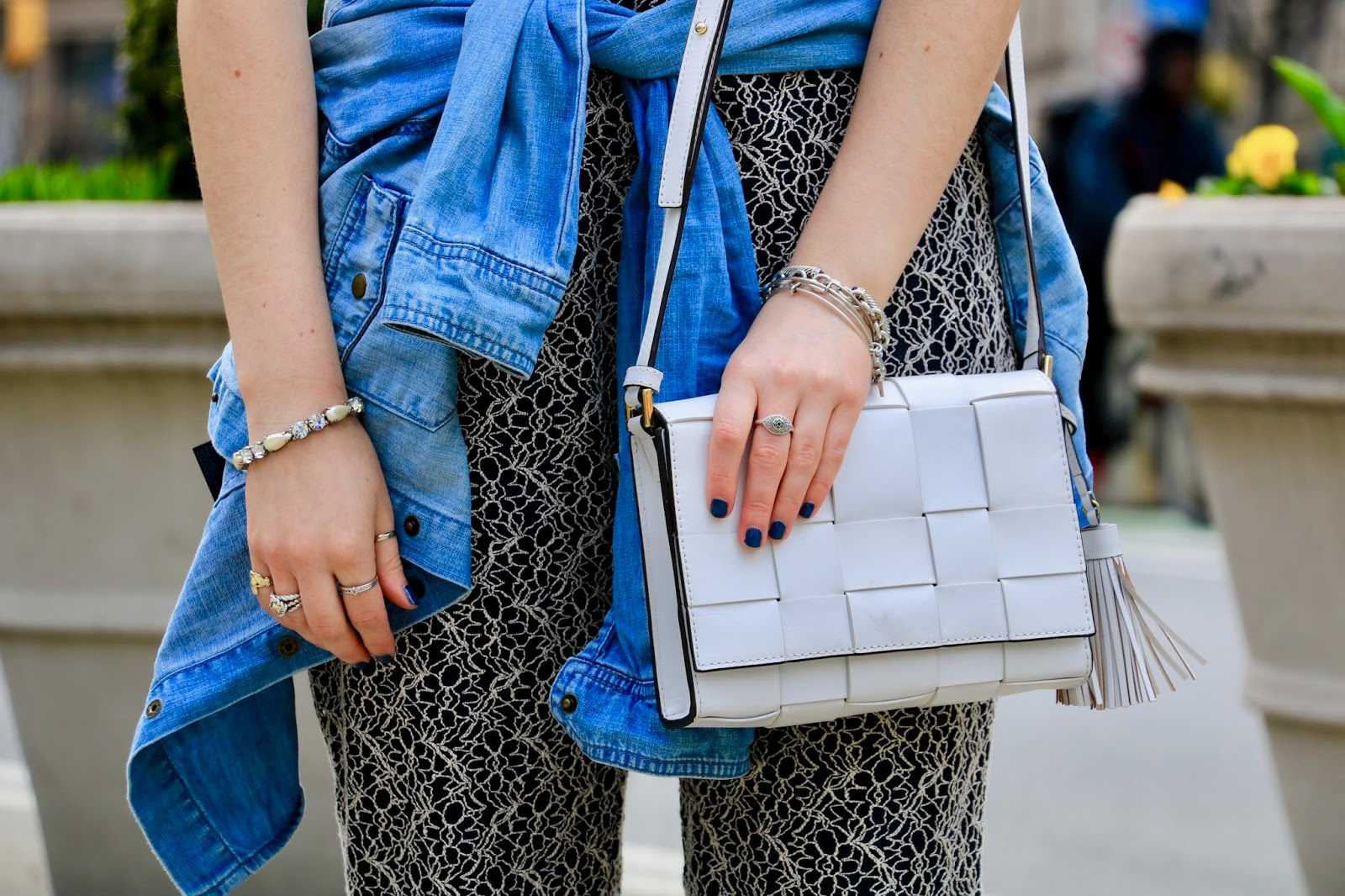 Nyc fashion blogger Kathleen Harper's white Michael Kors purse