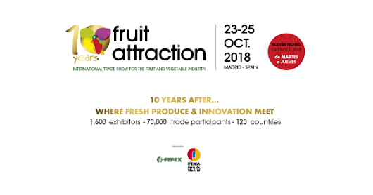Fruit Attraction 2018. Feria Internacional del Sector de Frutas y Hortalizas (Madrid). Del 23 al 25 de octubre de 2018.