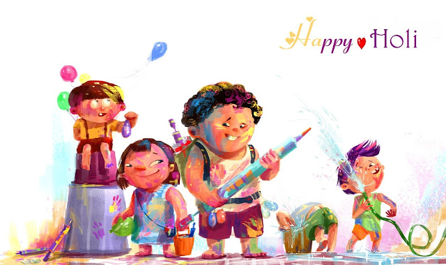 happy holi images cartoon