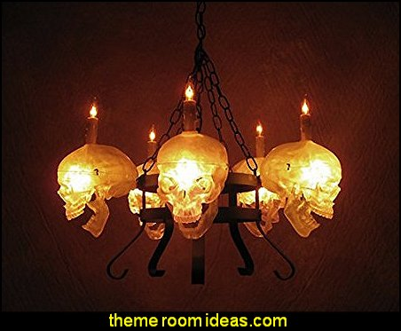 Skull/Metal Chandelier with Five Clear Skulls