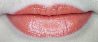 Avon mark. 3D Plumping Lipstick in Cantaloupe lip swatch