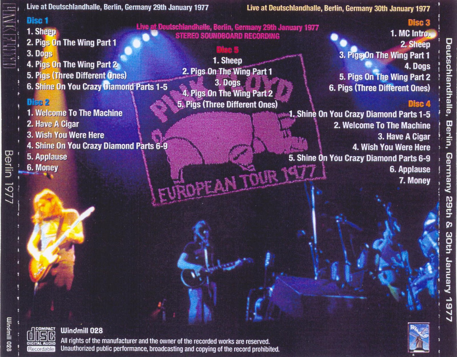 Reliquary Pink Floyd Berlin 1977 Windmill 028 5cd Box Set Ex
