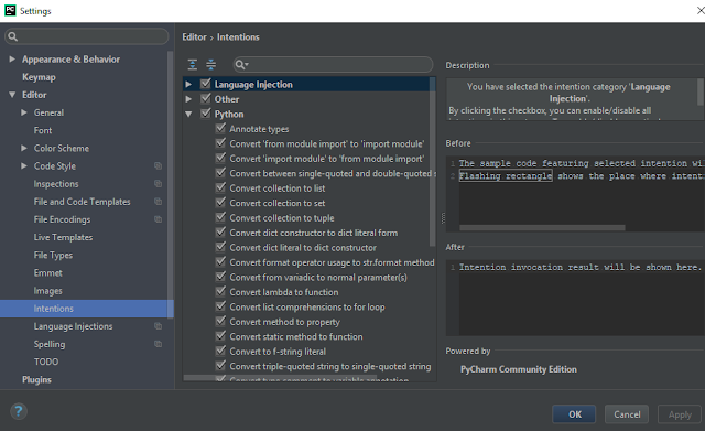 File / Settings / Editor / Intentions PyCharm