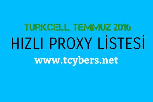 Turkcell Temmuz 2016 Hızlı Proxy Listesi