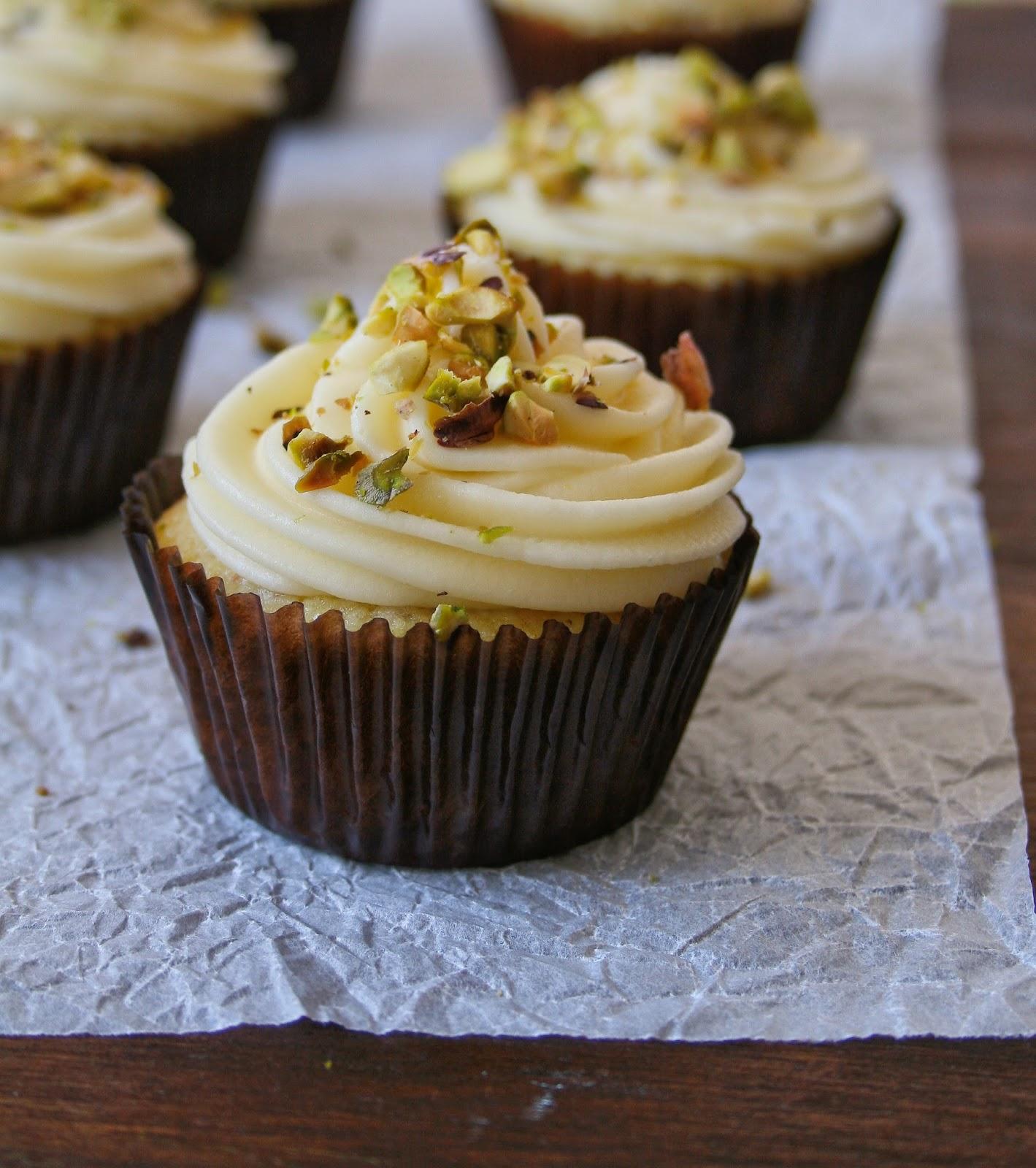 Lemon and pistachio cupcakes.